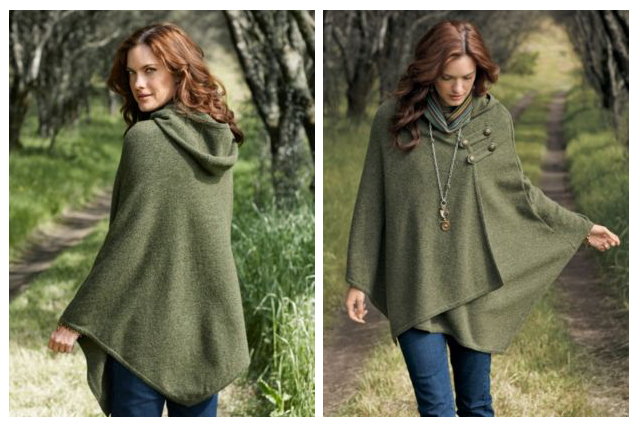 woman in a green knitted Pendleton cape