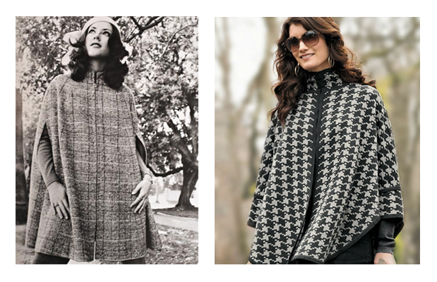 A vintage Pendleton cape and a modern Pendleton cape side by side.