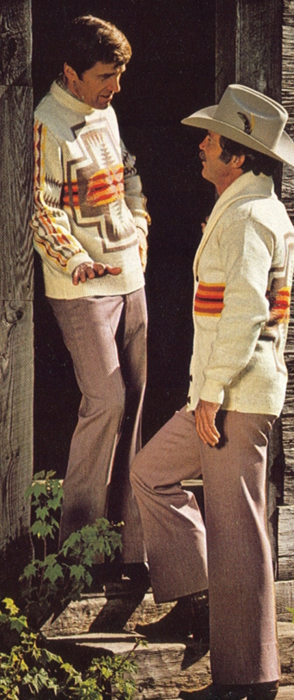 Two men in an advertising image from the 1980s. They are wearing Pendleton sweaters with Harding patterns.