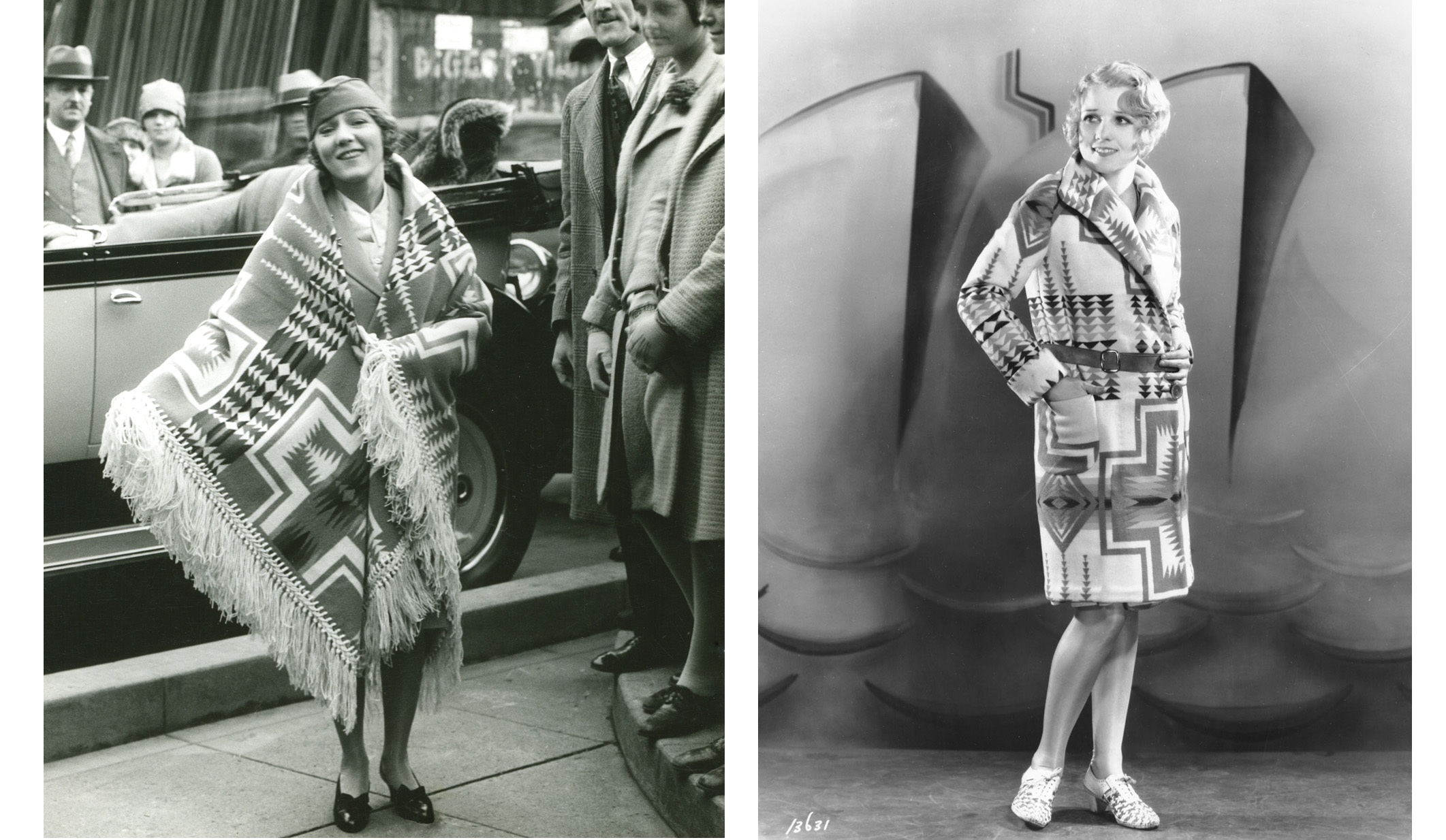Side by side photos from the 1920s of Mary Pickford and Anita Page, both in Pendleton Harding blanket garments.
