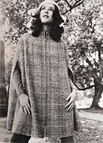 Vintage photo of a young woman in a Pendleton cape