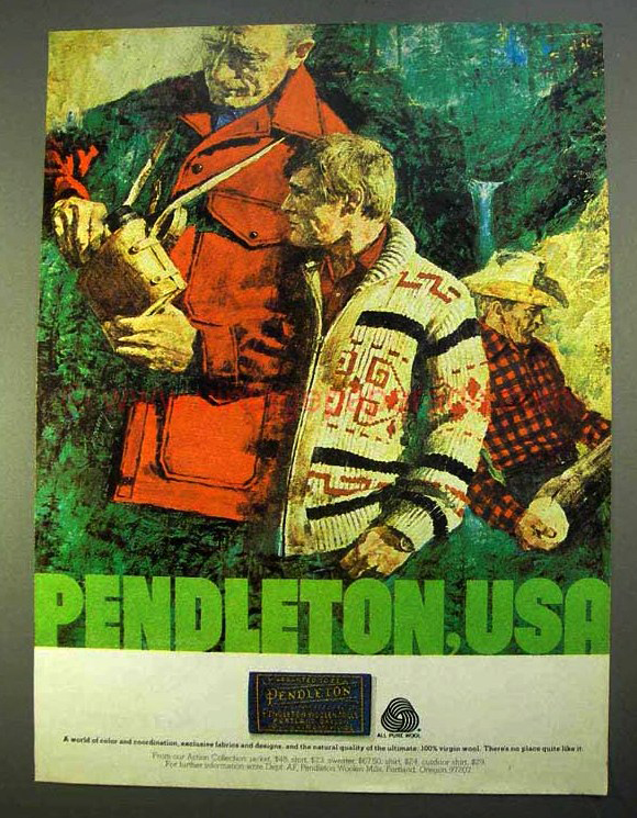 Ad from Pendleton archives with the Westerle cardigan