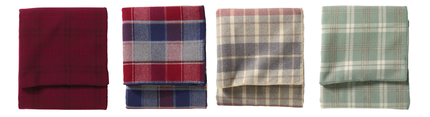 Plaid Pendleton Eco-Wise Wool bed blankets.