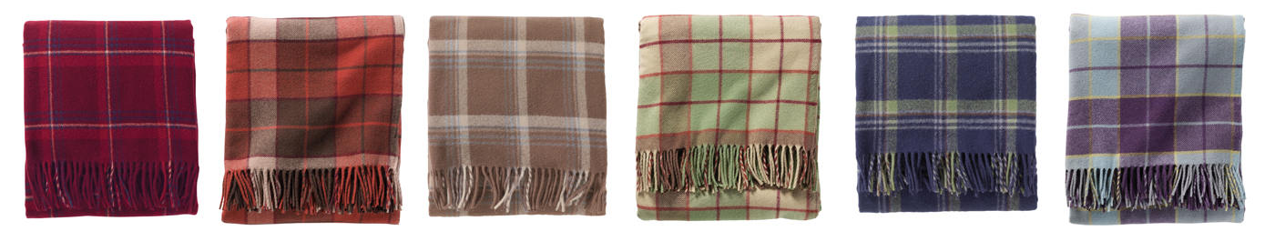 Plaid Pendleton Eco-Wise Wool fringed throws.