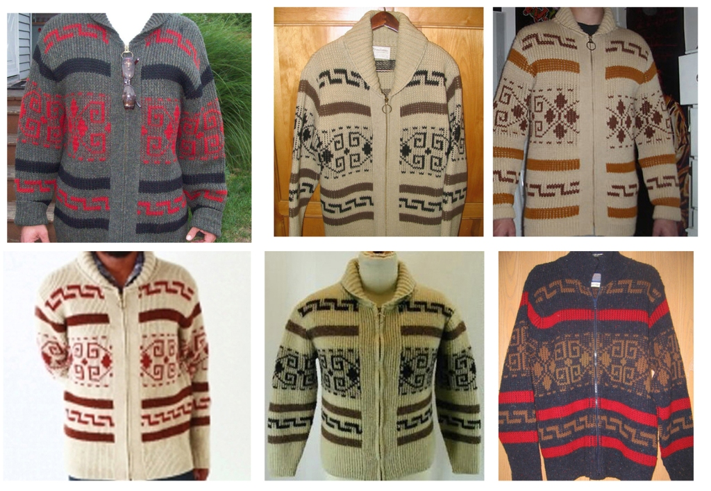 Six different coloration of the Pendleton Westerley sweater.