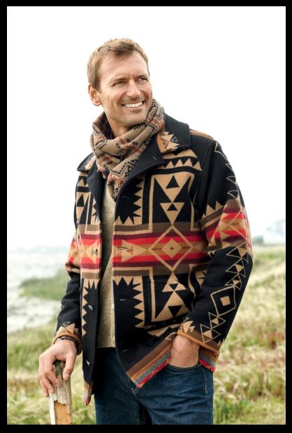 Men's coat in crossroads pattern