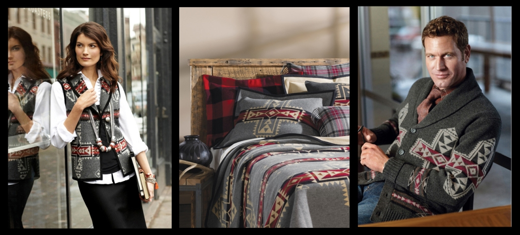 Pendleton products that use the Crossrads pattern; a vest, blanket and sweater
