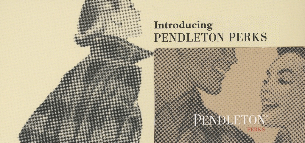 """A photo of the Pendleton Perks customer loyalty reward card, with the words, """"Introducing Pendleton Perks"""""""