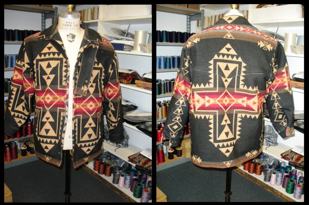 Vintage men's coat in the Crossroads pattern by Pendleton