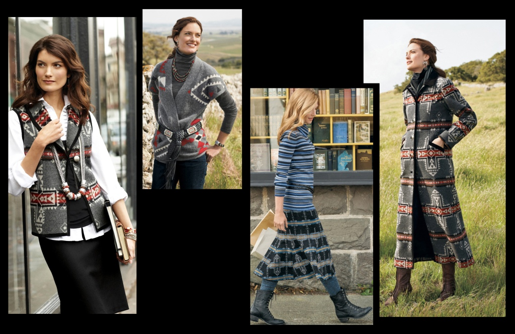 Women's clothing that uses the crossroads pattern