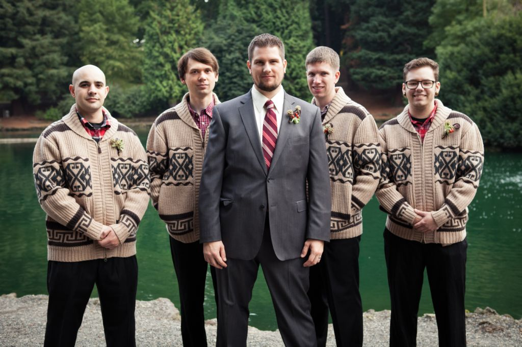 The Fisher + Johnson Wedding party in Laurelhurst Park - the Dudes and the groom