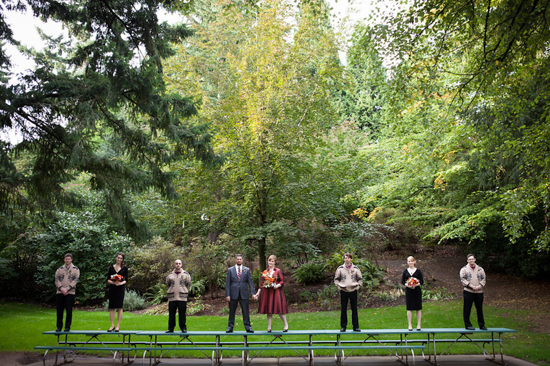 The Fisher + Johnson Wedding party in Laurelhurst Park