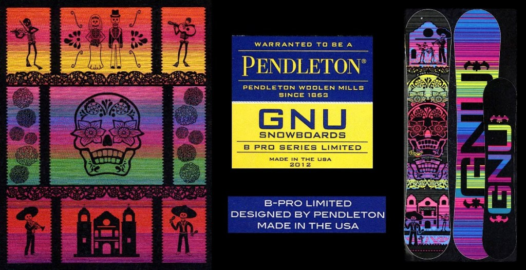 Logo and design for the GNU x Pendleton snowboard