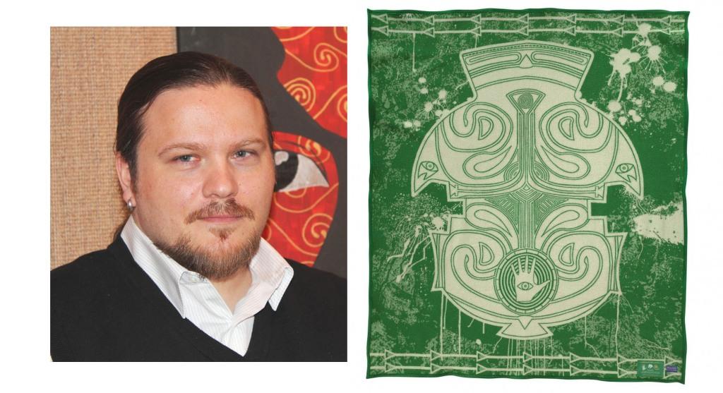 "Dustin Mater and his Pendleton blanket design, ""Spring"""