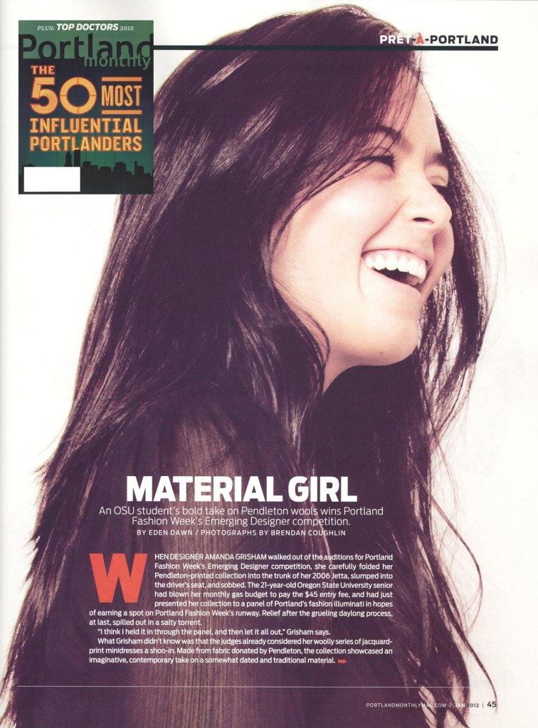 Portland Monthly spread featuring Amanda Grisham
