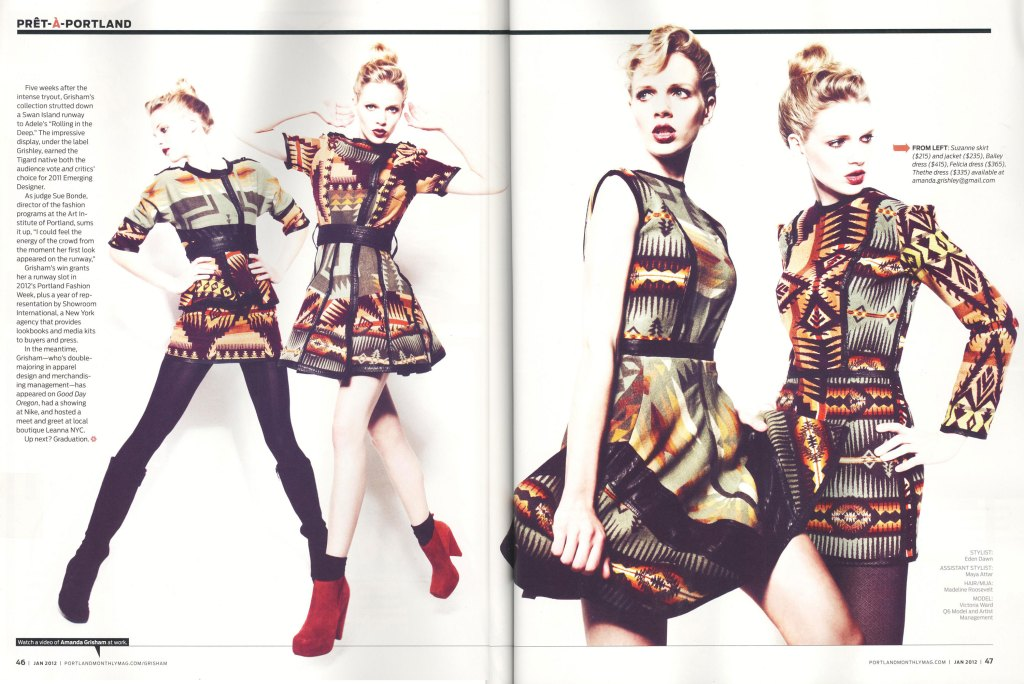 Portland Monthly spread featuring clothing in pendleton wool designed by Amanda Grisham