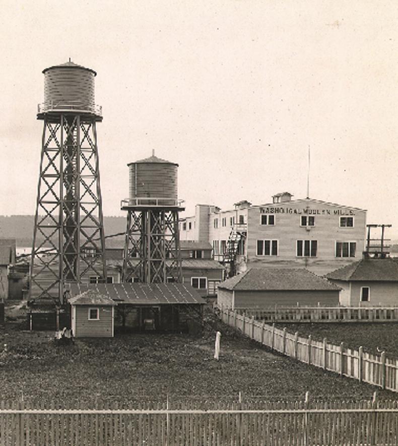 A vintage photo of Pendleton's Washougal, Washington mill.