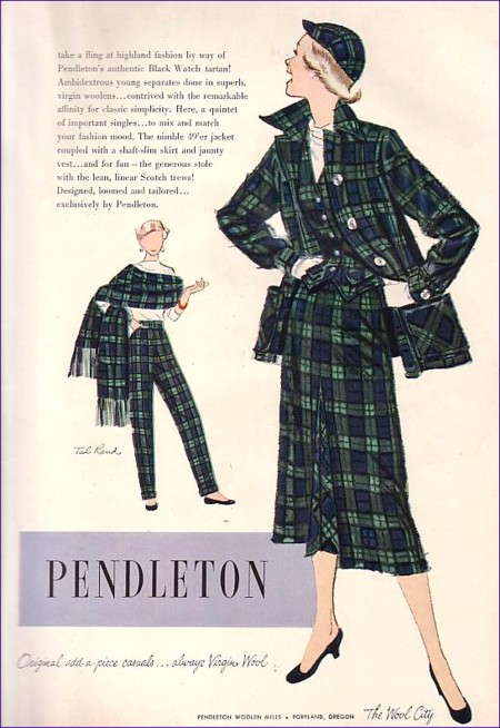 A vintage Pendleton ad that shows a variety of Pendleton wool plaid pieces, including the Pendleton 49'er jacket.