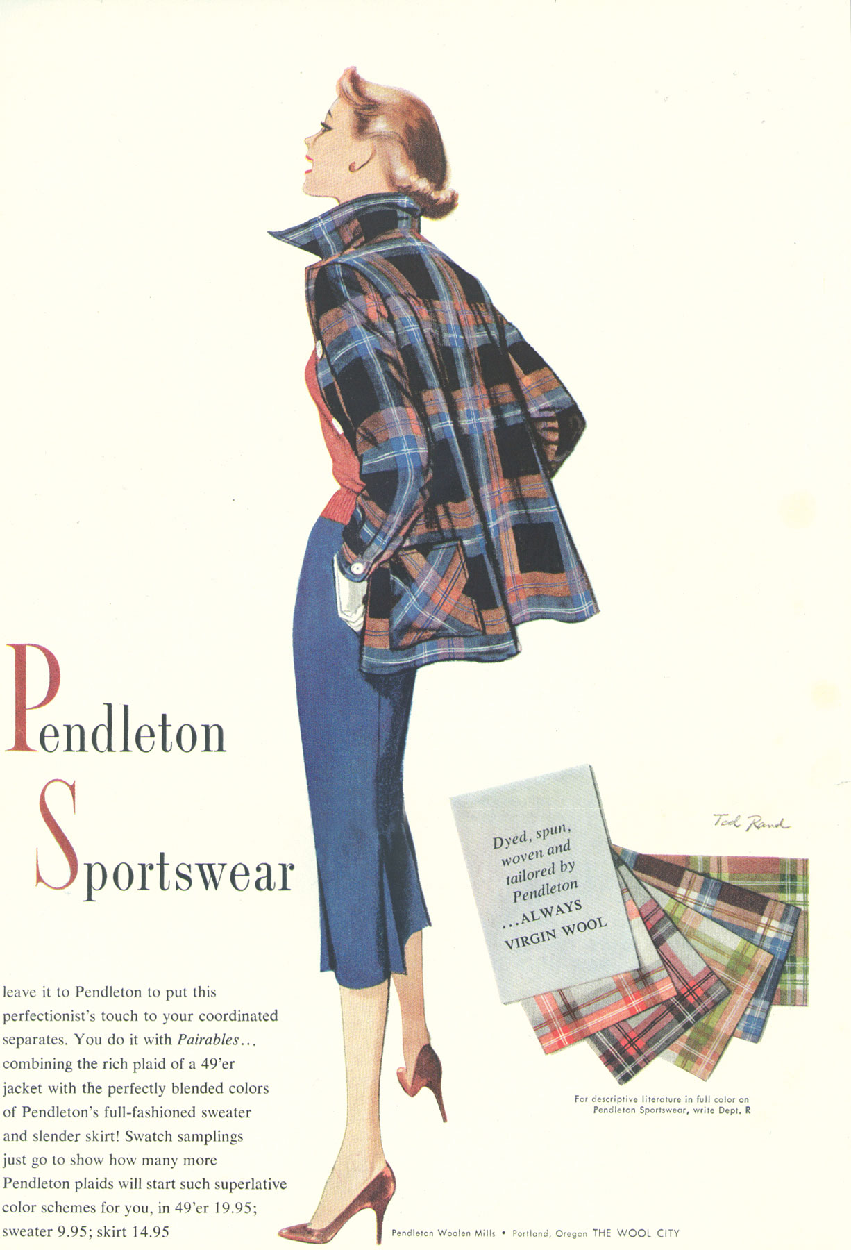 A classic vintage ad for Pendleton sportswear from 1952, featuring a Pendleton 49'er jacket, art by Ted Rand.