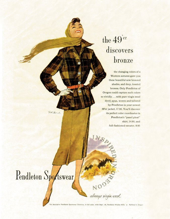 Another classic vintage ad for Pendleton sportswear from 1957, featuring a Pendleton 49'er jacket, art by Ted Rand.