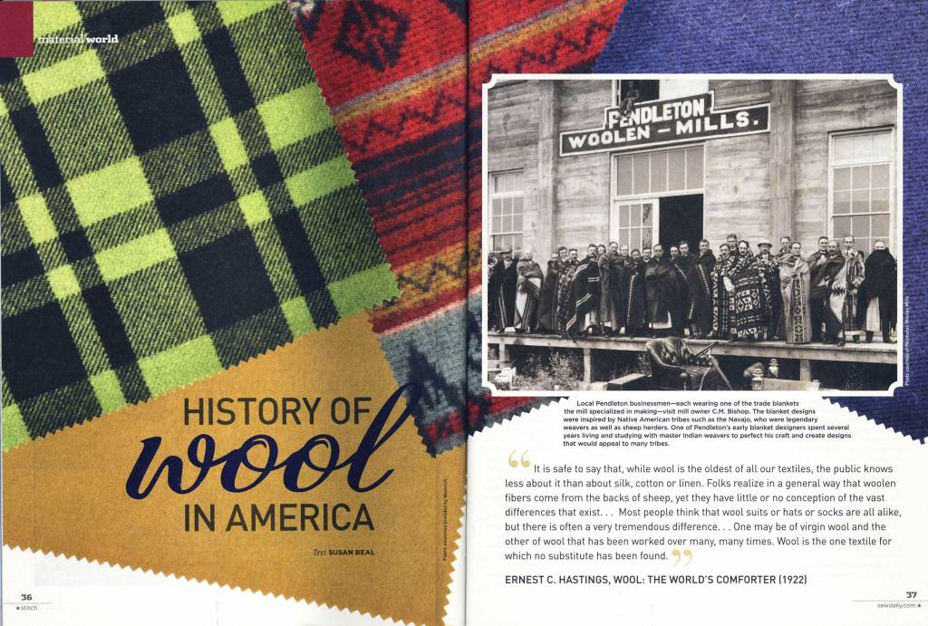 Spread in Stitch Magazine featuring the history of Pendleton's mills