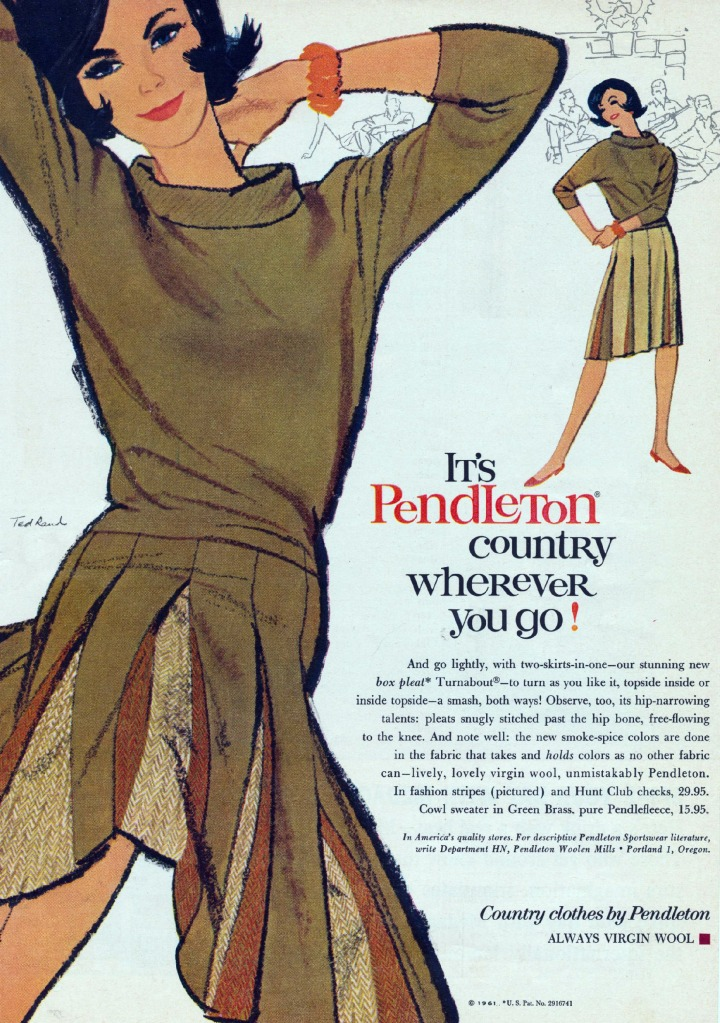 Another vintage ad for the reversible Turnabout, this oe in a more modern style