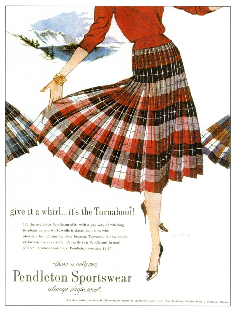 Vintage ad for the Pendleton Turnabout, illustration by Ted Rand