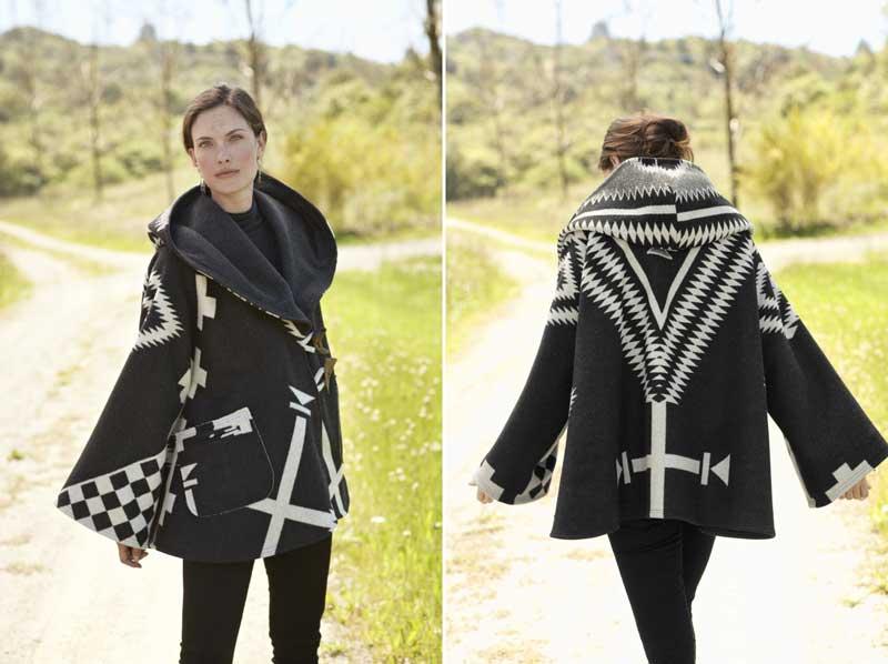 Lindsey Thornburg cloak made from a Los Ojos blanket