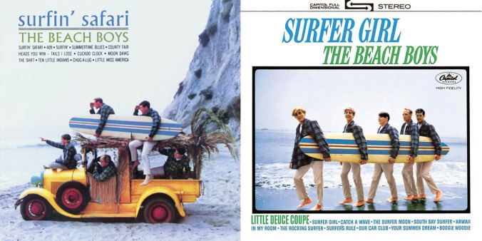 Album covers by the Beach boys, for Surfin' Safari and Surfer Gilr. The Boys are wearing Pendleton Board Shirts.