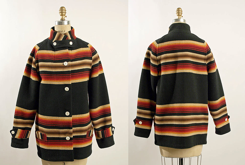 Front and back views of a Pendleton toboggan coat in the metropolitan  Museum's collection