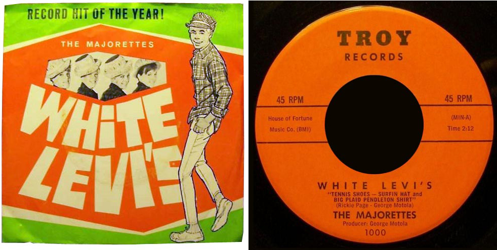 """Record and cover for the 45 single of """"White Levis"""" by the Majorettes. The cover shows a drawing of a young man wearing white Levi's and a plaid Pendleton shirt."""