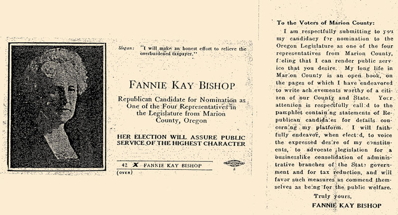 Newspaper feature on Fannie Kay Bishops run for Representative
