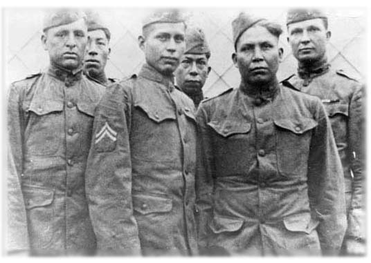Historical photo of the Choctaw Code Talkers