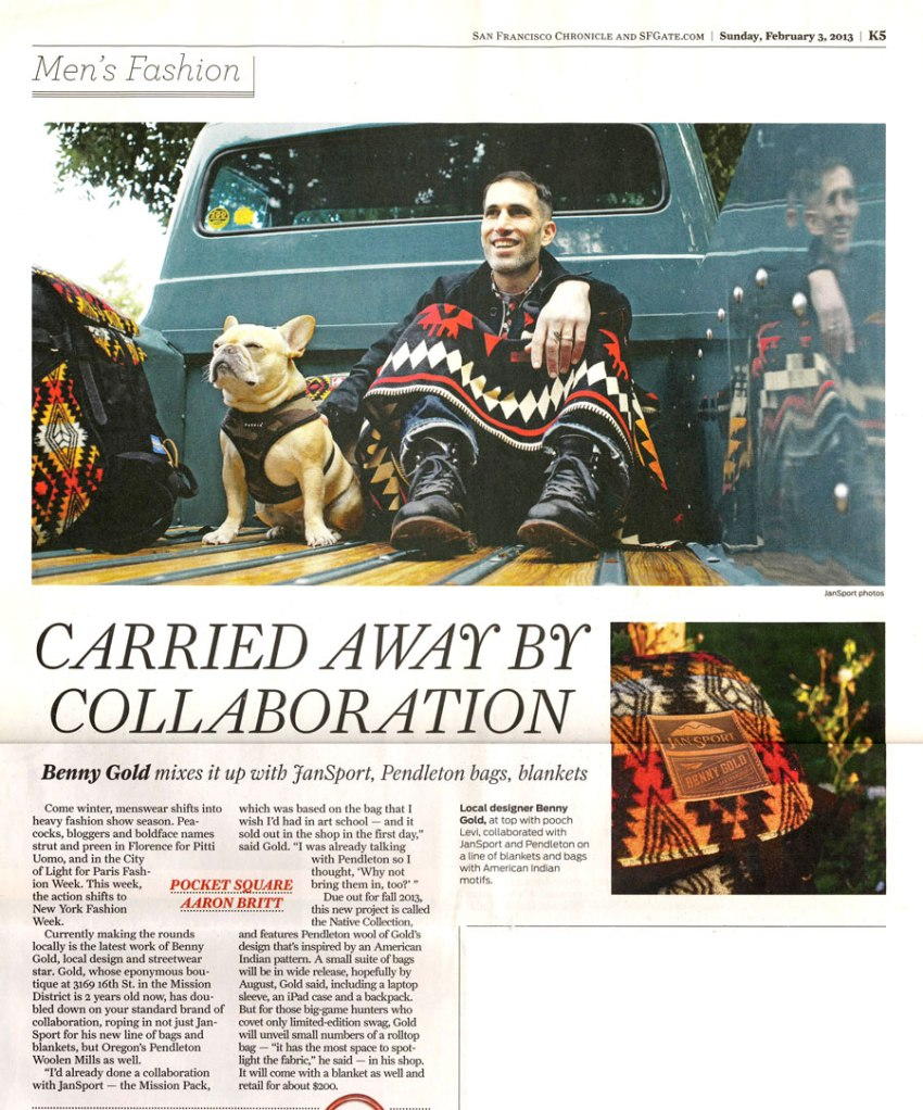 San Francisco Chronicle article on Benny Gold with Pendleton collab products.