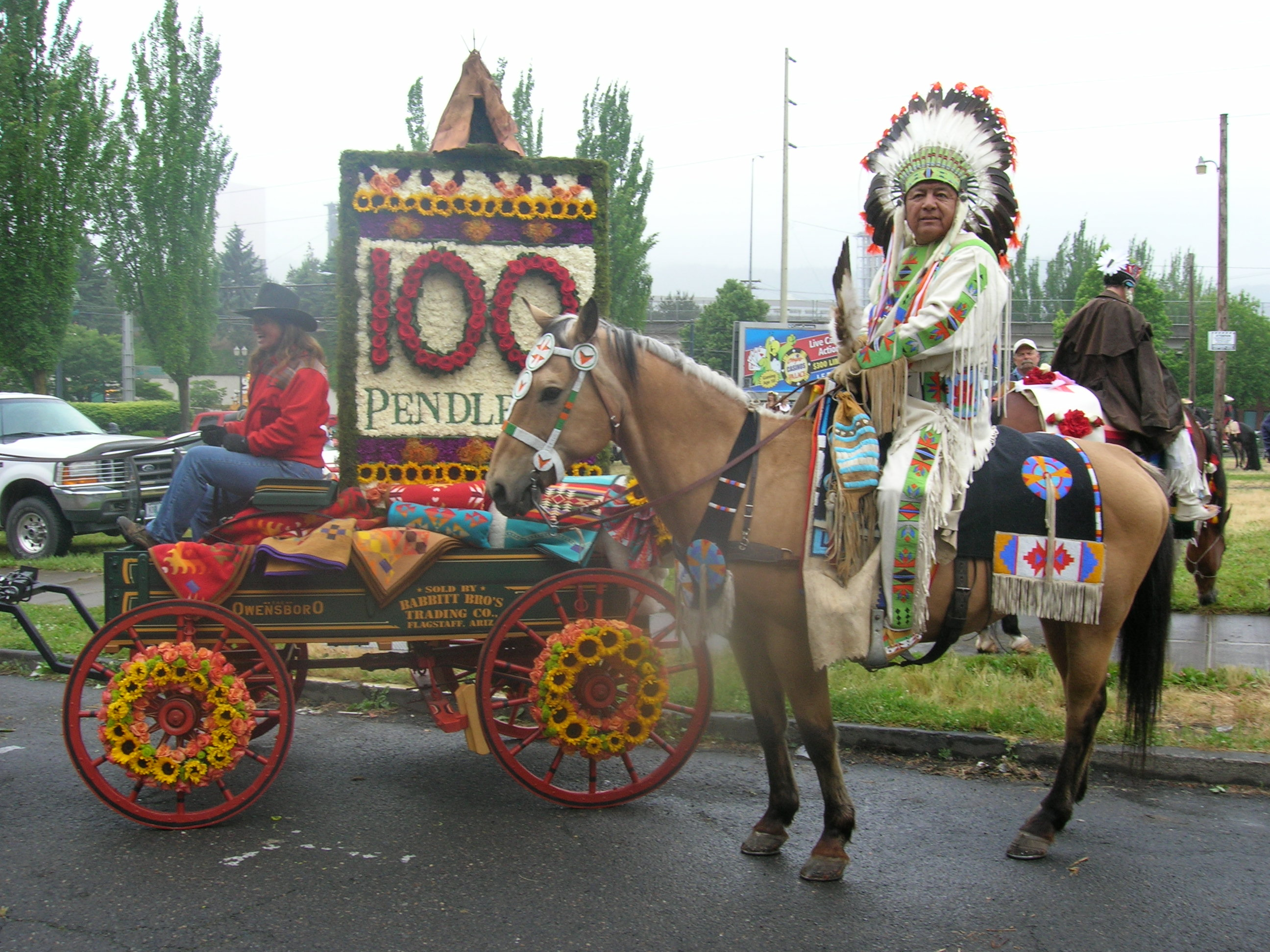 2009 Rose Show , Babbitt wagon with a native American rider alongside