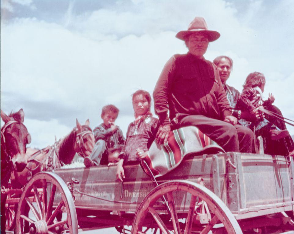 Historic Babbit Wagon with family and pendleton serape
