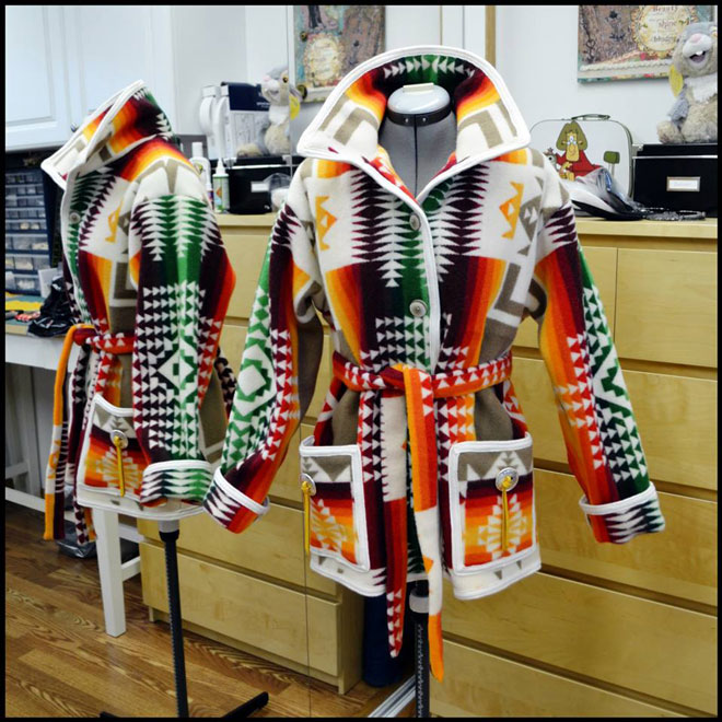 The prize, a custom coat made from Pendleton blanket wool.