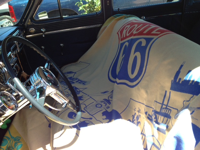 Route 66 Pendleton blanket over the front seat of vintage car