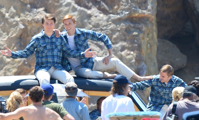 """Actors in the Brian Wilson biopic, """"Love and mercy,"""" in Pendleton Board Shirts in the Original Surf Plaid."""