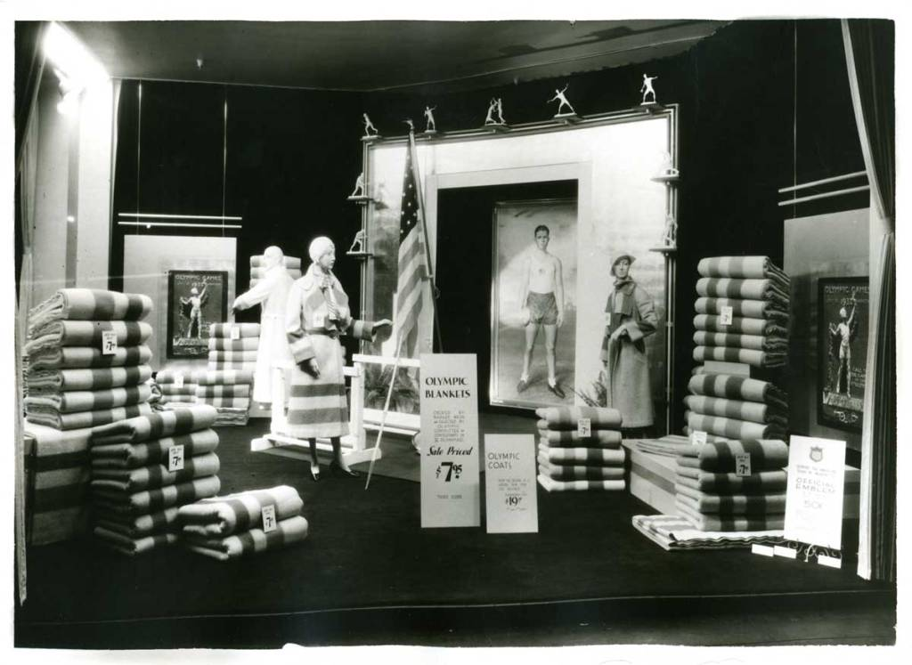 1932_Olympic_Display photo of striped blankets and ladies' coats on mannequins