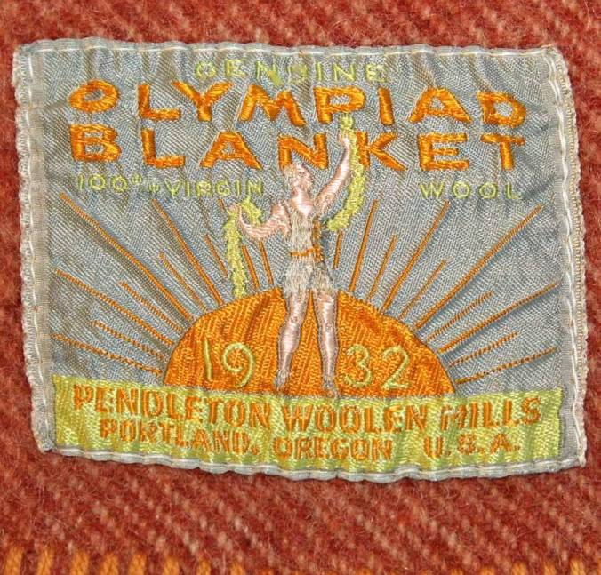 A closeup of the blanket label from the Pendleton Olympiad blanket
