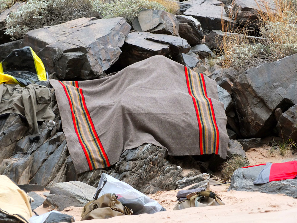 8_credit_Dave_Mortenson  A pendleton blanket dries out on the rocks