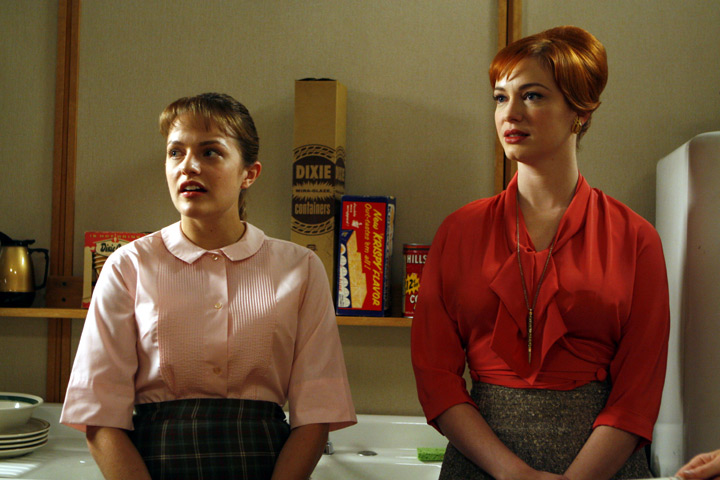 Peggy Olson and Joan, peggy wearing a Pendleton reversible skirt to hide her pregnancy