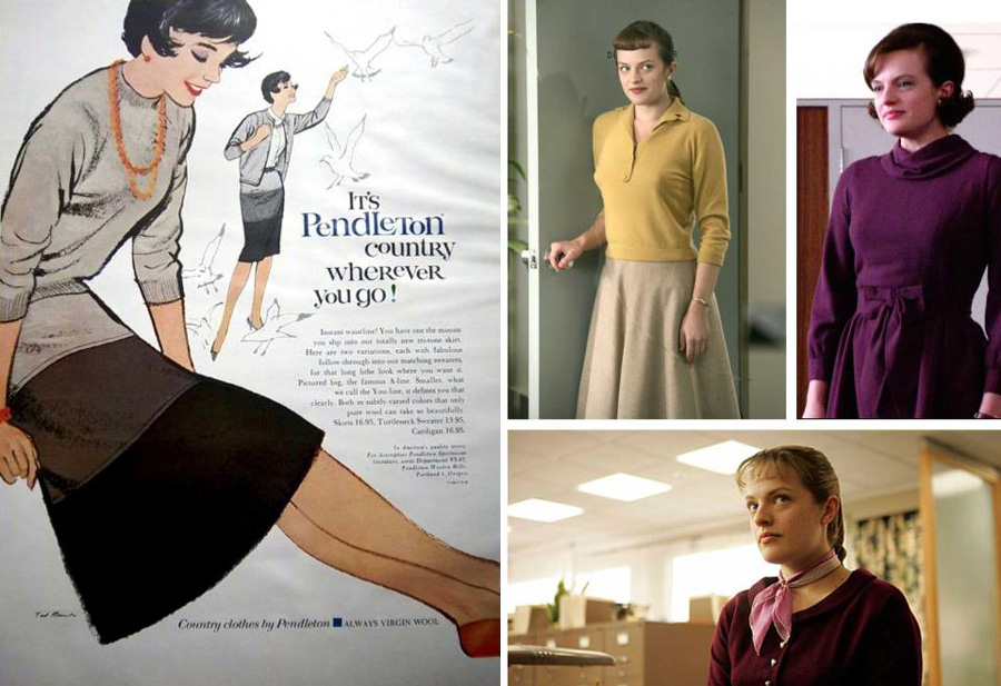 Peggy Olson, solid color sweater and wool skirt, Pendleton ad of same