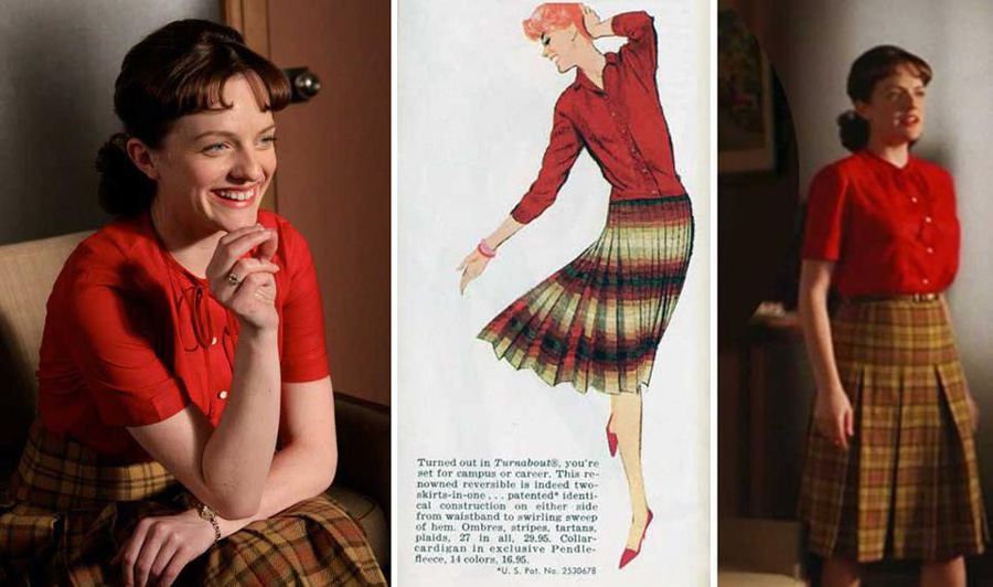 Peggy Olson in a plad skirt and red top, with a Pendleton ad