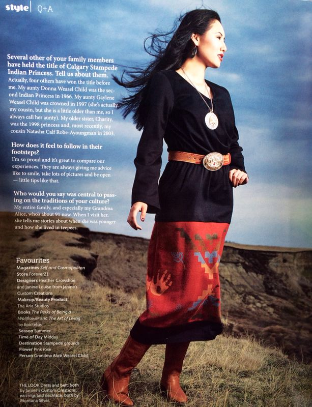 Avenue Magazine photo of Carly in a custom dress made with Pendleton wool.