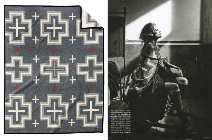 "A pattern inspired by mid-to-late 19th-century Native American weaving traditions and the influence of Spanish missionaries in the Southwest. The design's roots are in the traditional banded Chief Stripe pattern which evolved into a ""nine-element"" layout. The reversible jacquard has two dramatically different looks."