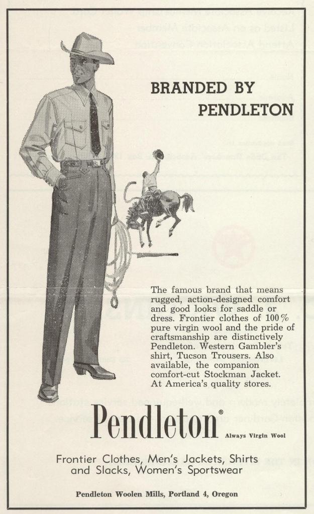 January 1959 vintage pendleton wool shirt ad
