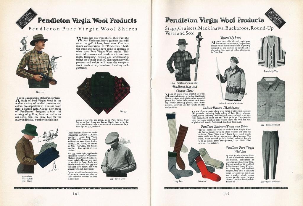 pendleton_wool_shirt_Spread - 1927 catalog