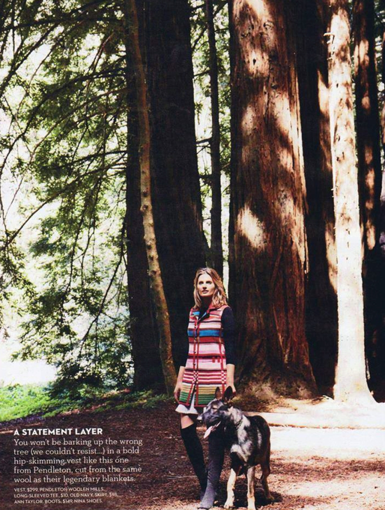 Stana Katic in a Pendleton vest in the forest  Stanic